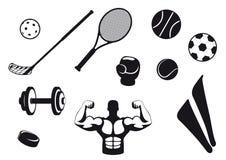 Set black and white sport icons Stock Photos