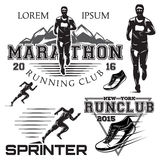 Set black and white sports emblems for the sprint and marathon Royalty Free Stock Image