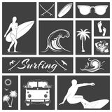 Set of black and white surfing icons Stock Image