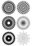 A set of black white symmetric geometric lace circles Royalty Free Stock Image