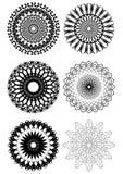 A set of black white symmetric geometric lace circles. A set of fine black white symmetric geometric lace circles Royalty Free Stock Image