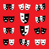 Set of black and white theatrical masks Stock Image