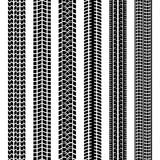 Set of black and white tire tracks. Or prints left in dirt  mud or snow by the treads on the tyres of vehicle or machine  straight seamless vector patterns Stock Image