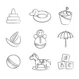 Set of black and white toys Royalty Free Stock Photos