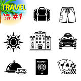Set of black-and-white travel icons. Vector collection of symbols for tourism and vacation. Qualitative vector signs about travel, hotel, tourism, vacation, trip Royalty Free Stock Photos