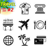 Set of black-and-white travel icons. Vector collection of symbols for tourism and vacation. Qualitative vector signs about travel, hotel, tourism, vacation, trip Royalty Free Stock Images