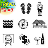 Set of black-and-white travel icons Stock Image