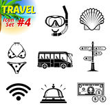 Set of black-and-white travel icons Royalty Free Stock Images