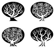 Set of black and white trees  isolated Stock Photos