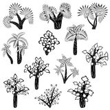 Set of black and white trees Stock Images