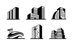 Set of black and white vector building icons Royalty Free Stock Images