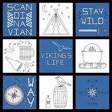 Set of black-and-white vector illustrations for the design. Of Viking`s life Royalty Free Stock Images
