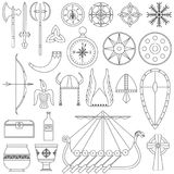 Set of black-and-white vector illustrations for the design. Of Viking`s life Stock Photography
