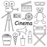 A set of black-and-white vector illustrations for the cinema. A set of black-and-white vector illustrations for the film industry Stock Photo