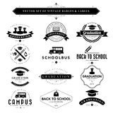 Set of black & white vintage badges and labels Stock Photography