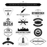 Set of black & white vintage badges and labels Royalty Free Stock Photo
