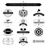Set of black & white vintage badges and labels Stock Photos