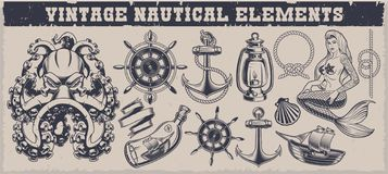 Set of black and white vintage nautical elements stock illustration