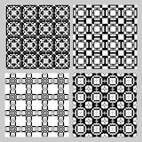 Set of black and white vintage patterns. Decorative tile collection in art deco style. Repeatable geometric ornament. Stock Photos