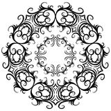 Set of black and white vintage round frames. Stock Photo