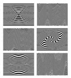 Set of black and white wave stripe optical abstract. Design background. Curved lines. Vector illustration. Isolated on white. Background vector illustration