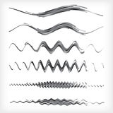 Set of black and white wavy vector dividers Stock Photos
