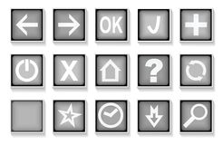 Set of black and white web buttons Royalty Free Stock Photography