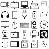 Set of black and white web icons Stock Images