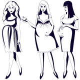 Set of black and white young pregnant women.  Royalty Free Stock Photo