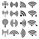 Set of black wireless and wifi icons Stock Photography