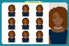 Set of black woman expression. businesswoman. Isolated vector  illustration.face girl,avatar, angry, cry, sad, smiling. Set of black woman expression.Young Royalty Free Stock Photos