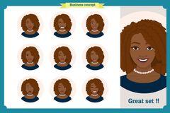 Set of black woman expression. businesswoman. Isolated vector  illustration.face girl,avatar, angry, cry, sad, smiling. Set of black woman expression.Young Stock Image