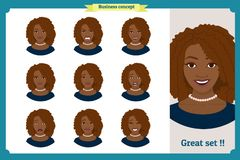 Set of black woman expression. businesswoman. Isolated vector  illustration.face girl,avatar, angry, cry, sad, smiling. Set of black woman expression.Young Royalty Free Stock Images