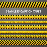 Set of black and yellow seamless caution tapes Royalty Free Stock Photo