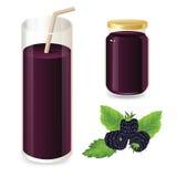 Set of blackberry jam and cherry juice. Ripe blackberry on a white background Stock Photo