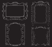 Set of blackboard with vintage ornament. The background for the wedding photo shoot. Vector illustration Royalty Free Stock Photo
