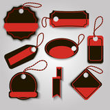 Set blackt and red creative label template. Vector illustration. Can be use for black friday label Stock Photography