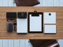 Set of blanc retro elements on the  table. 3d Royalty Free Stock Images