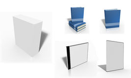 Set of blank 3d box. Books, cd and dvd covers Royalty Free Stock Photos