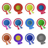 Set of blank award rosettes with ribbon Royalty Free Stock Photography