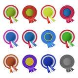 Set of blank award rosettes with ribbon Royalty Free Stock Photography