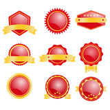 Set of blank badge with red and gold color Royalty Free Stock Photo