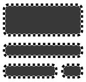 Set of blank banners, plaques with checkered borders for racing, Royalty Free Stock Photography