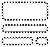 Set of blank banners, plaques with checkered borders for racing, Stock Images