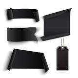 Set of blank black banners and price tags. Royalty Free Stock Photos