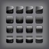 Set of blank black buttons Stock Photos