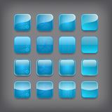 Set of blank blue buttons. For you design or app Stock Image