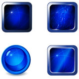 Set of blank blue glossy metallic web buttons Royalty Free Stock Photos