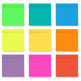 Set of blank bright and colorful sticky notes isolated on white. Set of blank and colorful sticky notes isolated on white background with transparency shadows Stock Photography