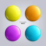 Set of blank, colorful glossy badges or web buttons. Royalty Free Stock Images